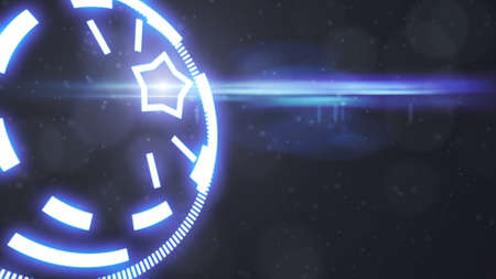 Futuristic screensaver with code hologram. HUD Heads Up Display Scanner high tech target digital read out. Abstract digital background