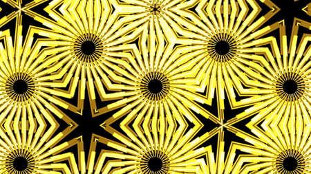 Golden lights kaleida background. mirror backdrop with black background