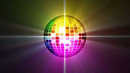 disco mirror ball rotating. Colorful background with shine