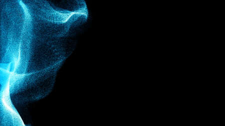 futuristic video animation with particle object. Dispersion