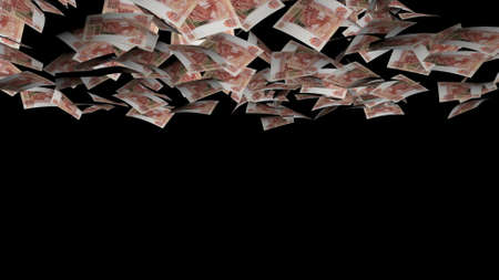 Animation of Ruble fall on black background