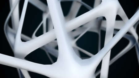 3d rendering geometric lines. Polyhedron from metal lattice structure. Computer generated technological backdrop Stock fotó