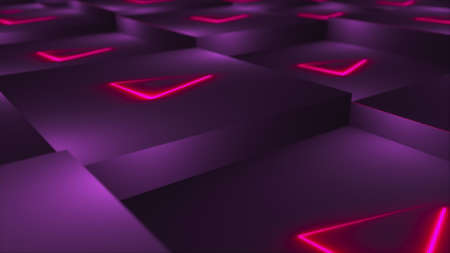 3d rendering background of cubes with neon located at different levels. Computer generated abstract technological area. Imagens