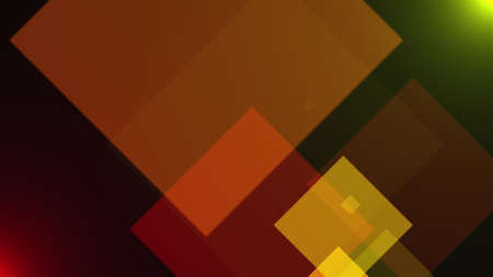 Abstract dark backdrop with flying transparent squares. Computer generated 3d rendering