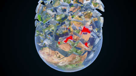 3d rendering of abstract virtual backdrop. Computer generated planet Earth destructions into shards.
