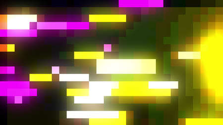Stream of glowing colorful bloks, 3d rendering. Computer generated backdrop with pixel effect