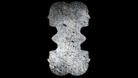 Composition of heads with grunge textures, computer generated. 3d rendering of abstract backdrop