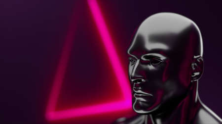 Futuristic human head with iridescent glare in front of geometric neon, 3d rendering. Computer generated virtual background.