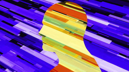 Computer generated human profile with colored stripes. 3d rendering of man silhouette and futuristic backdrop