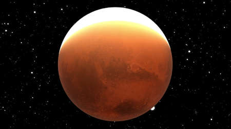 A computer generated close-up of the planet Mars with shine. 3d rendering of realistic cosmic background. 版權商用圖片