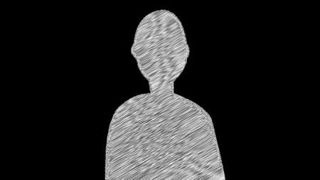 Computer generated simple silhouette of man with scribble fill. 3d rendering web doodle backdrop Stock fotó