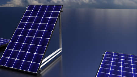 Row of solar batteries on a matte surface against the sky, 3d rendering. Alternative energy generators.Computer generated ecological background.