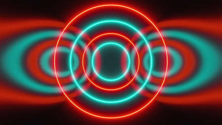 Abstract neon circles form an endless tunnel, computer generated. 3d rendering of bright fill background