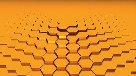 3d rendering of gold hexagonal backdrop. Computer generated abstract design. Stock fotó