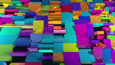 3d rendering of surface with the many rotating colorful rectangles. Computer generated abstract background. Imagens