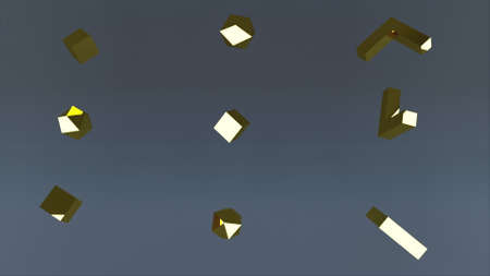 3d rendering of set of diffrent golden elements. Computer generated geometric backdrop