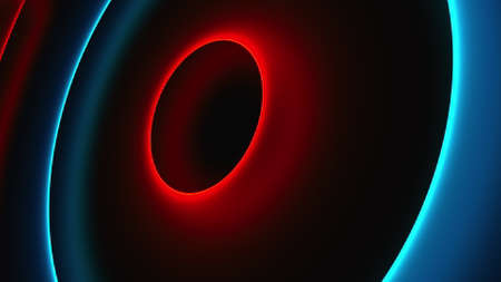 Abstract neon circles, computer generated. 3d rendering of futuristic shining backdrop