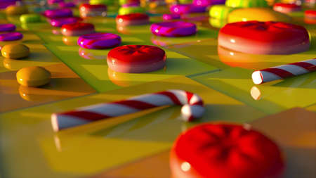 Different lollipops appear on a colored geometric plane, computer generated. Concept of candy production. 3d rendering virtual background