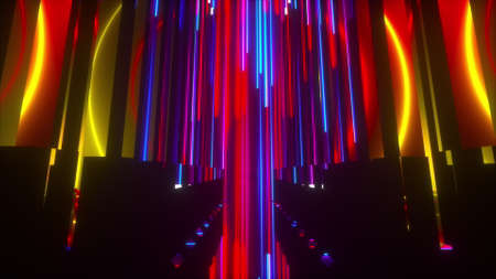 Space neon composition, computer generated. 3d rendering of virtual backdrop