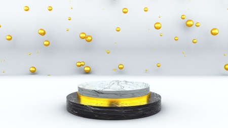 Computer generated marble pedestal in front of many golden bubbles. Concept of victory, achievement, glory. 3d rendering of studio backdrop