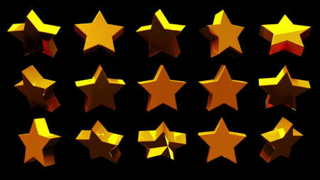 3d rendering of series of golden isometric stars. Computer generated isometric backdrop