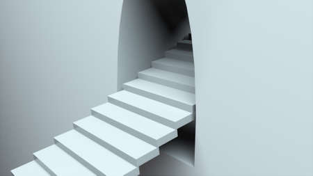 Escalator coming out of the wall. 3d rendering of infinite stair. Computer generated abstract background.