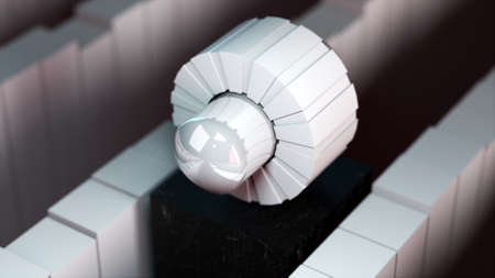Computer generated round mechanic element. 3D rendering technological backdrop.