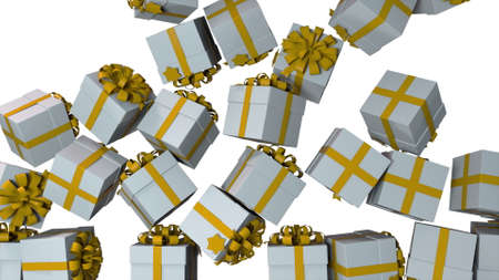 Many falling gift boxes with bows, computer generated. 3d rendering of festive new year backdrop.