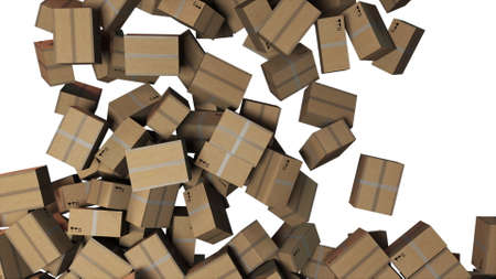 Many falling cardboard boxes, computer generated. 3d rendering of commercial business backdrop. Logistics and retail goods delivery.