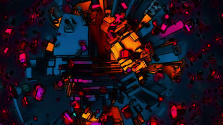 3d rendering of abstract technology backdrop. Complicated surface, computer generated in cartoon style
