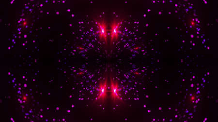 Fractal particles and flares in mirror reflection, 3d rendering. Computer generated abstract backdrop