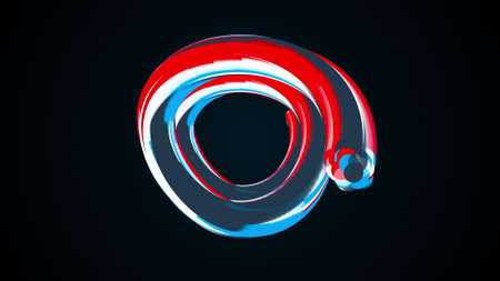 Abstract rings of flashing colorful stripes, computer generated. 3d render of modern backdrop 版權商用圖片