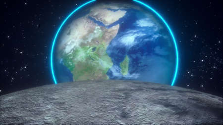 The surface of the moon overlooking the Earth planet against the backdrop of stars. Computer generated cosmic composition. 3D rendering elements of this image furnished by NASA