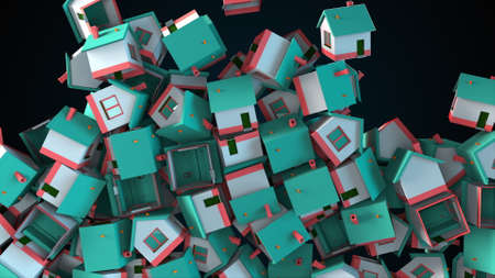 Many falling houses, computer generated. Oversupply in the real estate market. 3d rendering of comercial backdrop.