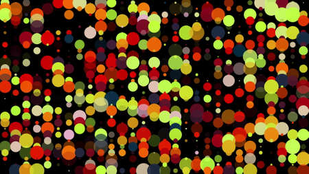 Festive background with many colorful round particles. Computer generated 3d render