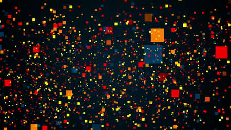 Space with flying colorful rectangles particles. Computer generated 3d rendering abstract backdrop
