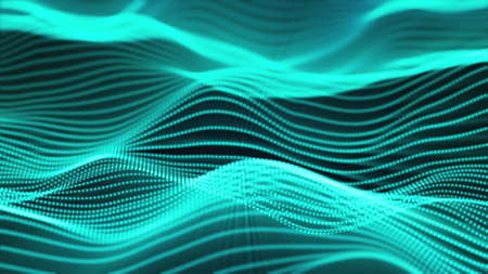Computer generated a big data wave of particles. Color striped effect. 3D rendering of a futuristic neon luminous surface 版權商用圖片