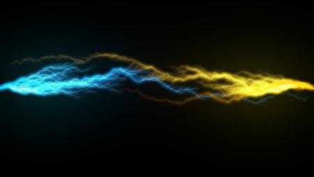 Blue and orange beams sparkling thunder lightning on the dark. 3d rendering backdrop, computer generating