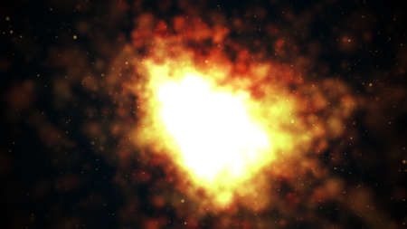Computer generated dark background with bright fire and sparkles. 3d render of flash light