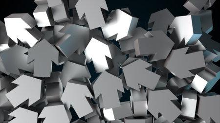 Falling big arrows, computer generated. 3d render of modern background 版權商用圖片