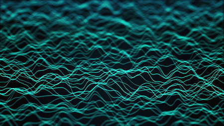 Neon waves of numerous abstract lines and rows computer generated backdrop. 3d rendering 版權商用圖片