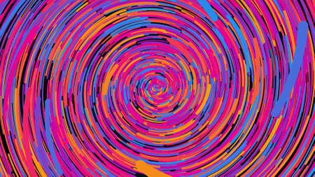 Spiral fireworks from multicolored radial lines, computer generated. 3d rendering abstract backdrop.