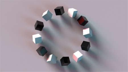 Ring construction from rotation cubes, computer generated. 3d rendering of isometric background