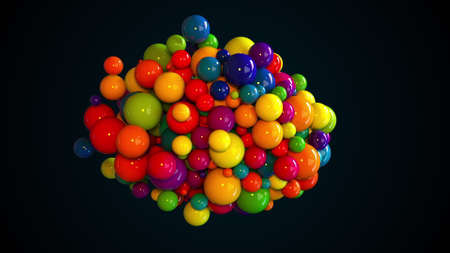Random multicolored spheres. Computer generated abstract form of large and small glossy balls. 3d rendering background 版權商用圖片