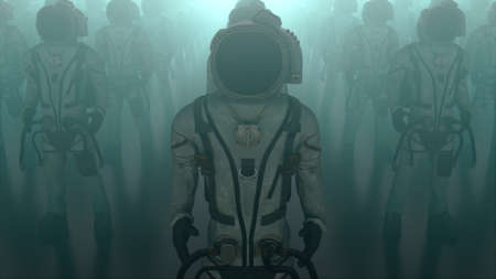 Rows of astronauts with dog, computer generated. 3d rendering of mystical background.