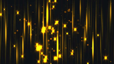 Gold vertical streaks and particles, computer generated. 3d rendering of luxury art backdrop Фото со стока
