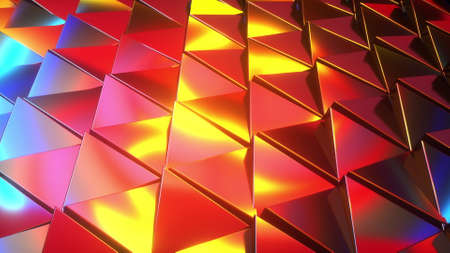 Computer generated rows of triangles and neon light. 3d rendering of abstract background.