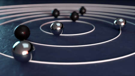 Radial way for black and white balls, computer generated. 3d render of isometric backdrop
