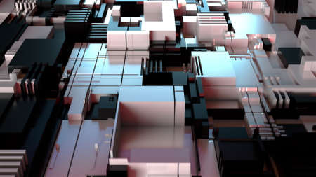 3d render technology background. Abstract geometry surface, computer generated.