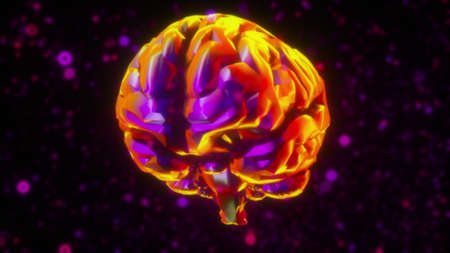 Computer generated artificial intelligence. 3d rendering of the iridescent brain against the background of neon blurred particles Фото со стока